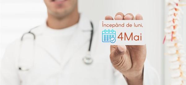 Reluăm consultațiile de recuperare medicală începând de luni 4 mai
