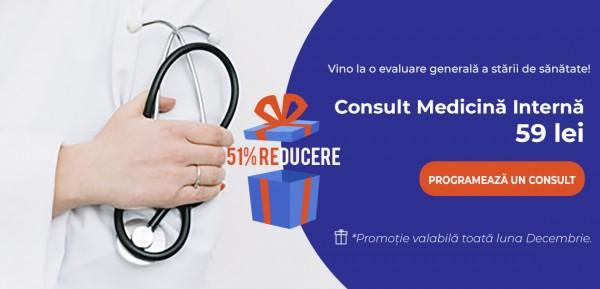 51% Reducere la Consultul de Medicină Internă în luna decembrie